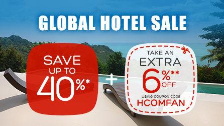 好订网Hotels优惠活动:全球酒店冬季促销最低6折优惠,还有最新优惠码享额外6%折扣(2016/12/17)