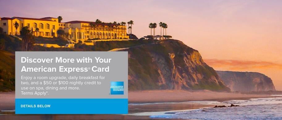 使用运通信用卡预订并入住丽思卡尔顿酒店,可获免费房型升级、每天早餐及最高$100消费额度