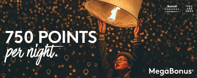 Marriott万豪2018年Q2活动MegaBonus:第3晚及之后的入住享每晚750积分奖励,最高奖励36000分(2018/6/30前)