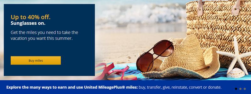 美联航里程闪促:购买UA里程(MileagePlus)享6折优惠(2018-8-13前)