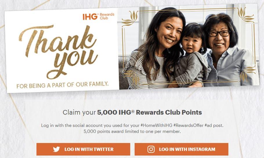 IHG洲际积分活动:在Twitter或者Instagram发布照片,5000点积分免费送